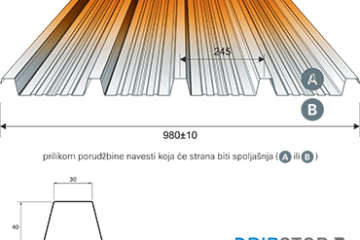 Roof profiled sheet TR-40